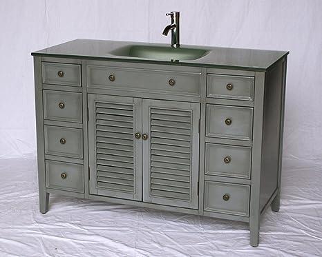 Amazon Com 48 Inch Cottage Style Single Sink Bathroom Vanity Model 1128 48 G Kitchen Dining