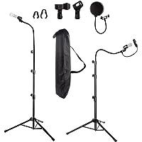 Soporte para micrófono, trípode de micrófono de altura de hasta 6 pies de cuello de cisne resistente soporte para…