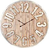 RAZ Imports Galvanized Metal and Wood Slat Clock - 35.5 inch