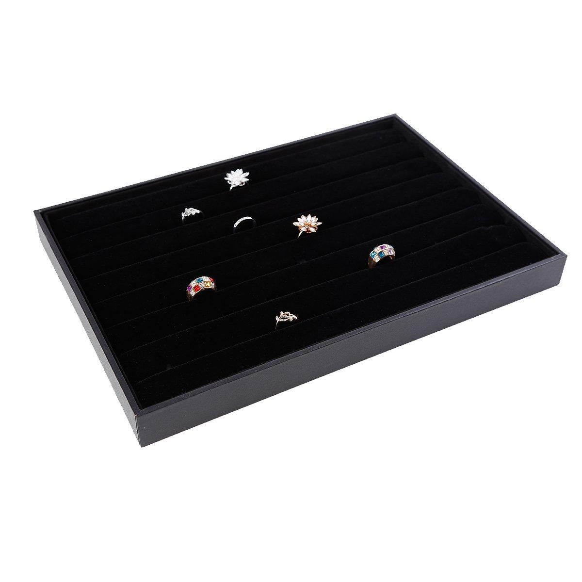 Soaptree Black Velevt Stackable 7 Slots Ring Earring Tray Showcase Display Organizer (Ring Tray)