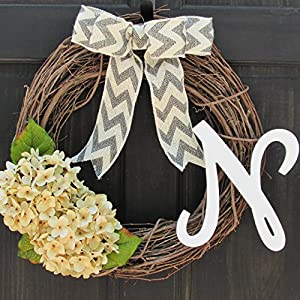 Year Round Initial Wreath for Spring All Season Front Door Decoration; Personalized Monogram Letter and Bow Color Choice; Artificial Cream Hydrangeas 14
