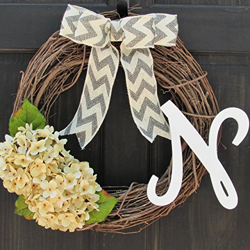 Custom Year Round Monogram Initial Wreath for Personalized Spring, Summer, Fall, Winter, Everyday Front Door - New Years Wreath