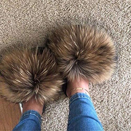 Avcfkpl Summer Fox Fur Slides Cute Plush Fox Slippers Fox Hair Beach Slippers See as pic14 7.5