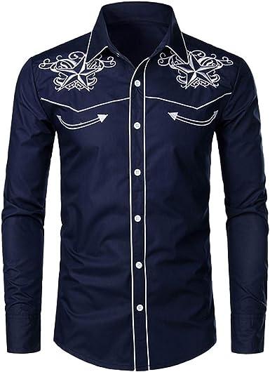 Luckycat Camisas Casual Hombre Camisa de Hombre Manga Larga Negocio Ajustado Botón Formal Retro Bordado Impresión Blusa Tops Camiseta para Hombre ...
