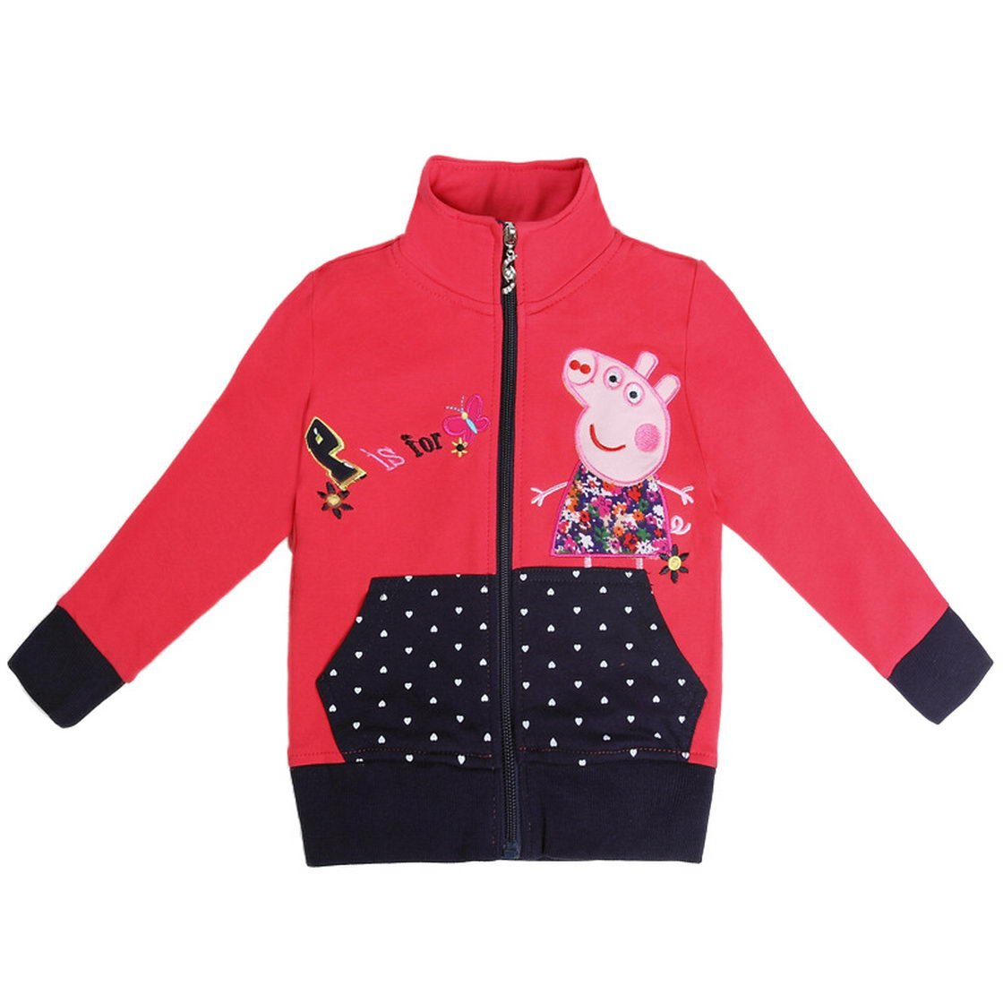 Peppa Pig Little Girls Long Sleeve Cartoon Fleece Sweatshirt Jacket 1-6Y Tiful