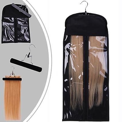alargadores de pelo colgador plancha de pelo con polvo Protección para Clip en extensiones de pelo