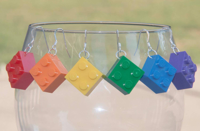Christmas Gift for Brick Lovers for Friends Handmade Earrings with STERLING SILVER Hooks Stocking Stuffers for Women Nerds Teen STEM Robotics Girls