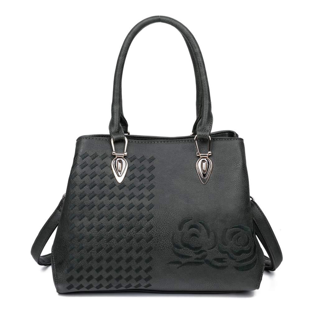 New Classic Ladies Faux Leather Plain Multi Pocket Tote shoulder Bag Handbag