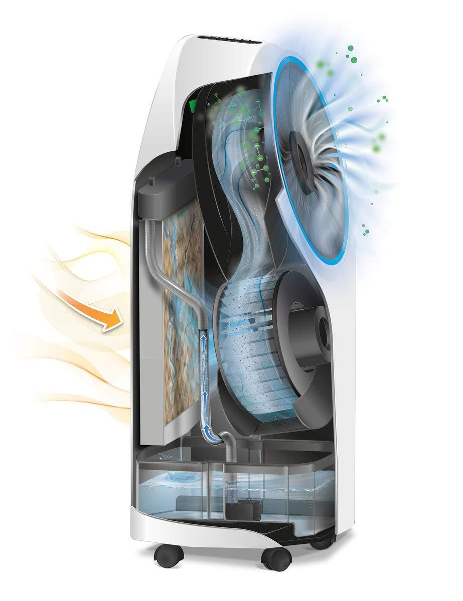 Delonghi EV250.WH - Climatizador evaporativo con ionizador, depósito 6h de autonomía 4,5l, protección ipx4, pantalla led, mando a distancia, ...