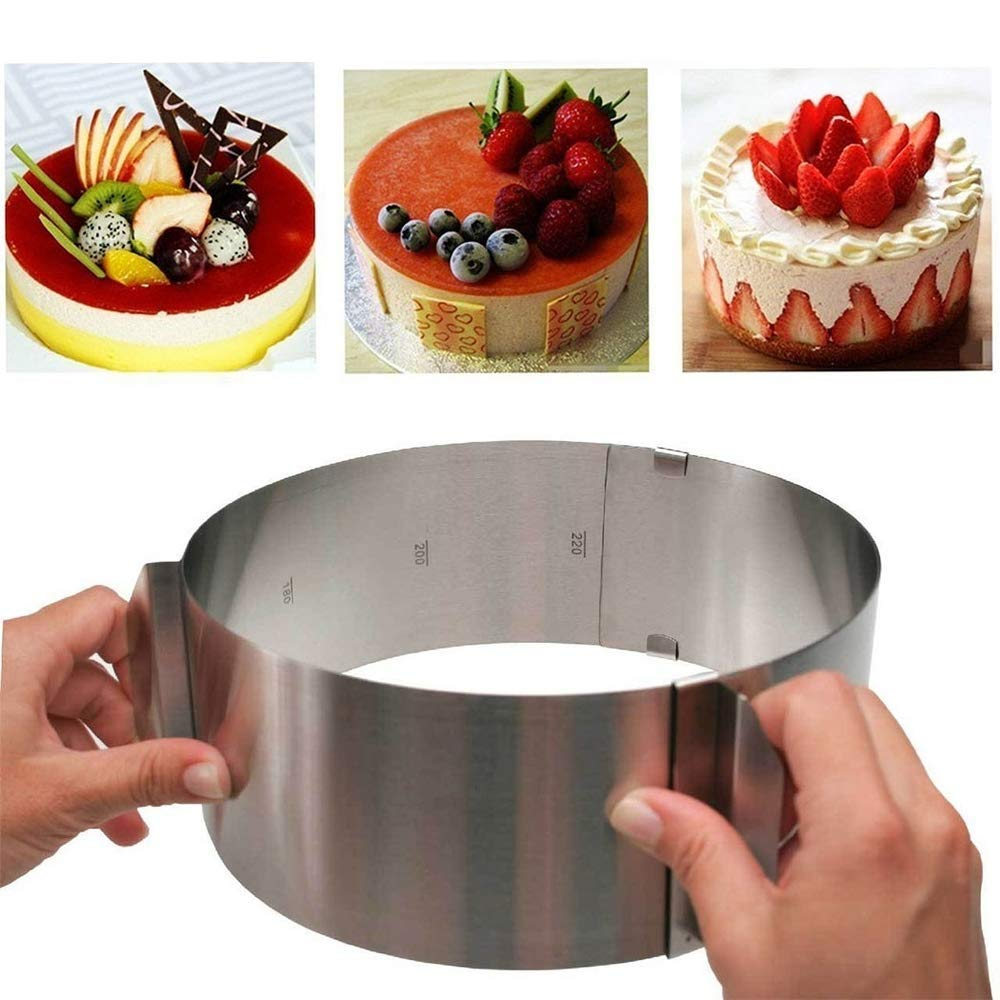 huqiongzhi Stainless Steel Adjustable Round Cake Ring Mold Retractable Home Baking Tool