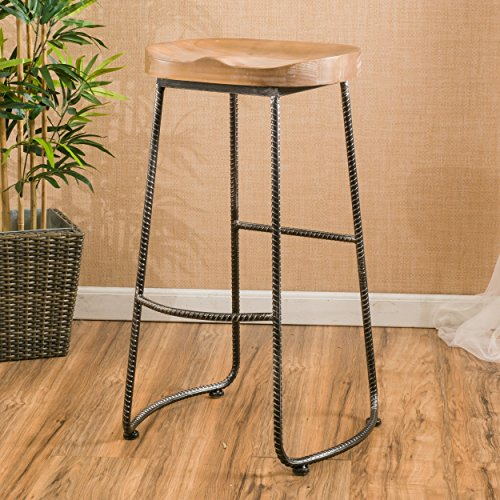Trica Kitchen Chair (Christopher Knight Home Burgos Rustic Barstool, rustic iron and wood)