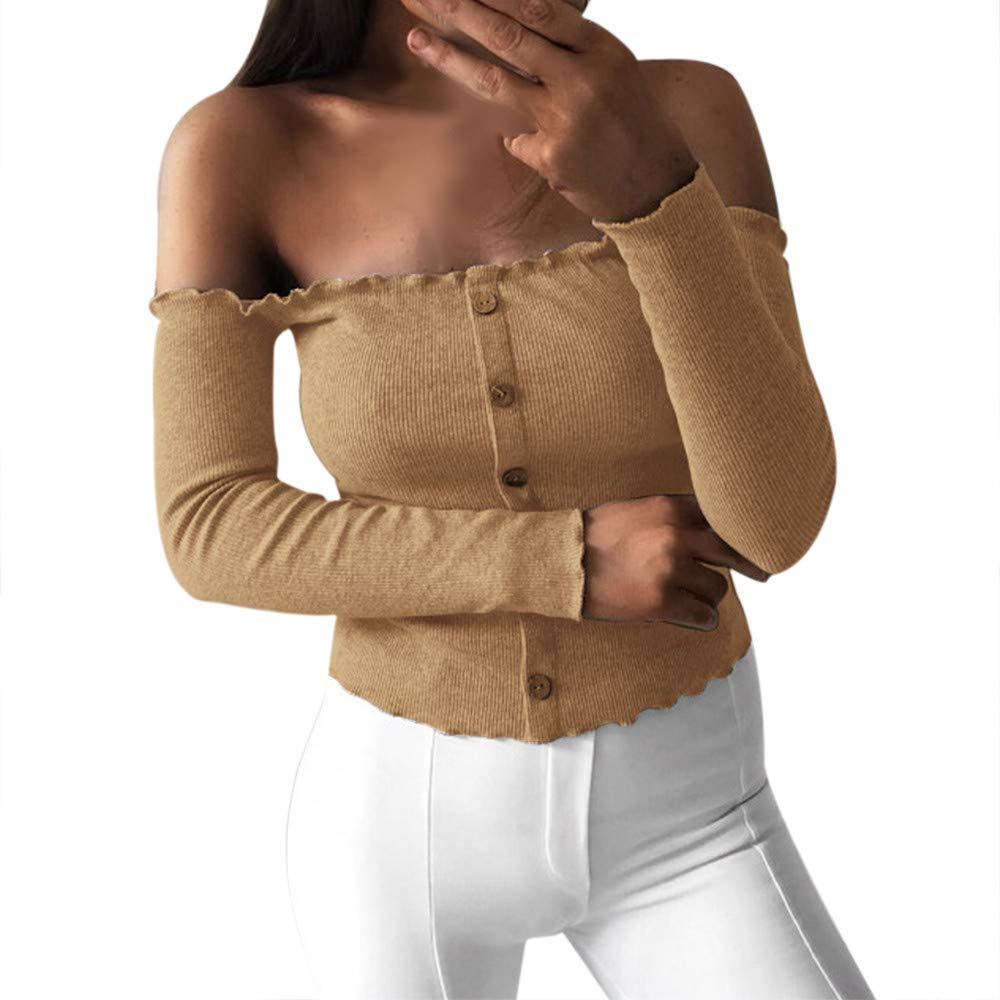 NUWFOR Fashion Women Pure Color Off Shoulder Buttons Short Tee Casual T-Shirt Top(Khaki,S)