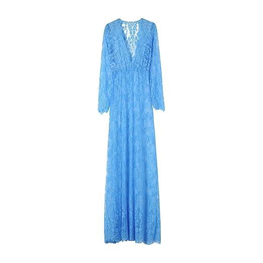 28e1e0da6 Lace Maxi Dress for Maternity, Pregnant Women Sexy See Through Deep V Neck  Long Sleeve