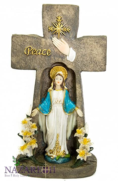 Amazon Miraculous Virgin Mary Candle Holder Cross Shaped Peace
