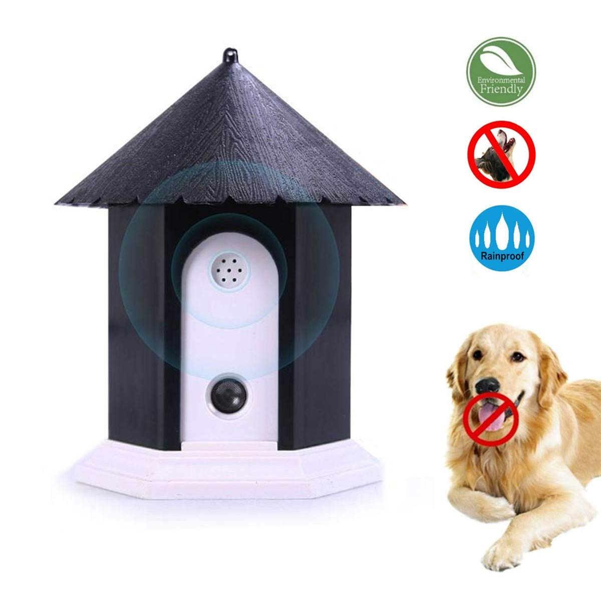 HoomDirect Anti Barking Device, Outdoor Ultrasonic Bark Control, Sonic Bark Deterrents,Waterproof Dog Bark Controller in Birdhouse Shape by HoomDirect