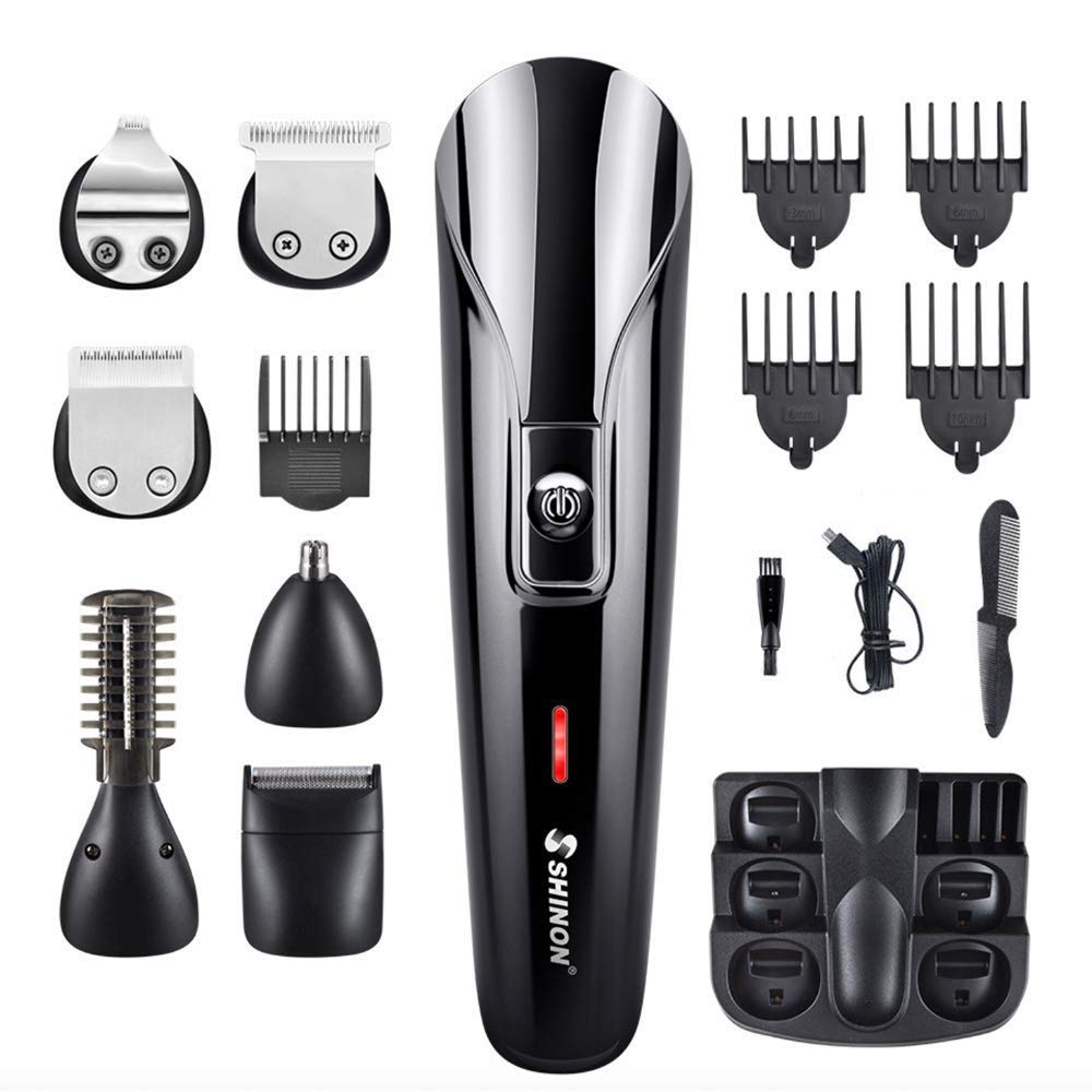 Clipper Self-Cut, WEIYII Beard Trimmer All-in-One Personal Haircutting Kit High Performance Rechargeable Home Barber Compact Size for Men's Grooming & Razor Trimmer Kit for Beard, Head, Body, and Face
