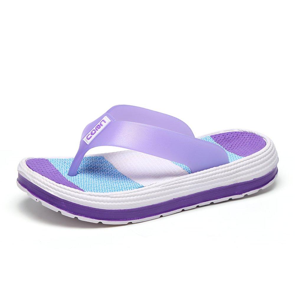 Damen Zehentrenner Sandalen Sommer Strand Flip Flops mit Plateau Sohle Gr36-41  37 EU|Violett