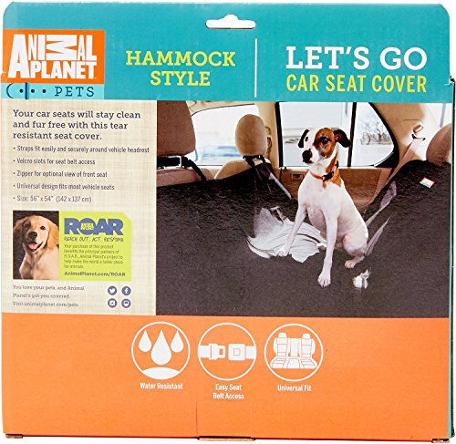 Animal Planet Dog Car Seat Cover 600d - Hammock Seat Cover for Dogs - Universal/Non-slip/Water-Resistant (Grey) by Animal Planet (Image #6)