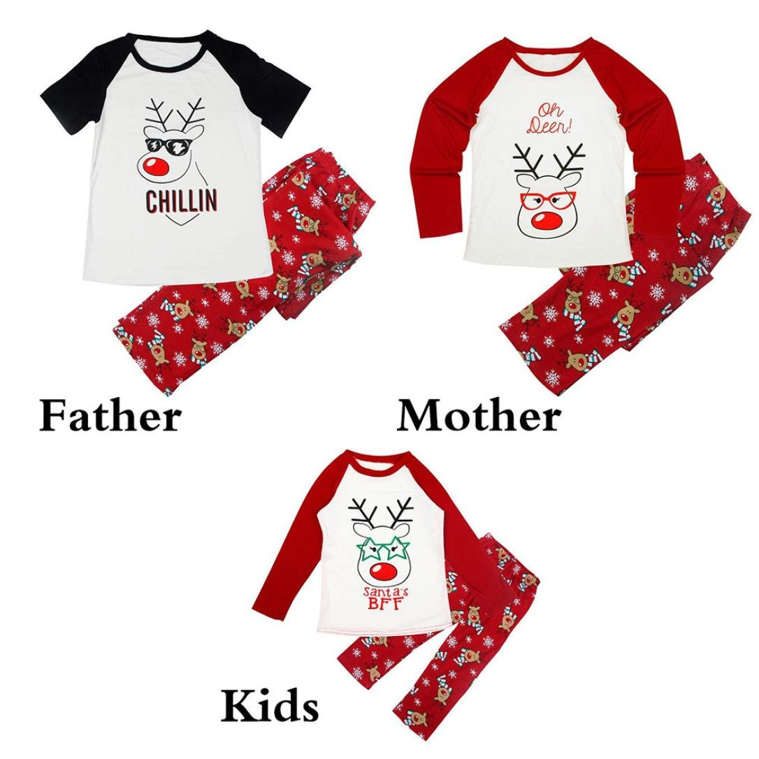 35f516f729f4 Amazon.com  WensLTD Family Matching Christmas Pajamas Set - Deer Tops and  Long Pants Sleepwear for Family  Sports   Outdoors