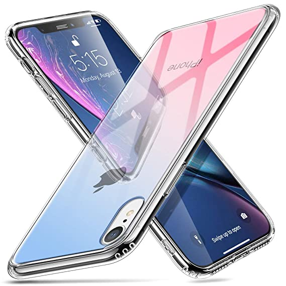 the best attitude d4434 25110 esr Mimic Tempered Glass Case for iPhone XR, 9H Tempered Glass Back Cover  [Mimics The Glass Back of iPhone XR][Scratch-Resistant]+Soft Silicone  Bumper ...