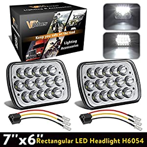 Partsam Sealed Beam Hi/Low Cree 7x6 Headlights 6054 Led Headlight 5x7 Led Headlight 7x6 Led H6054 Headlights H6054 Led Headlight w/H4 Wiring Harness for Jeep Wrangler YJ Xj Cherokee Chevy K5 S10 2PC