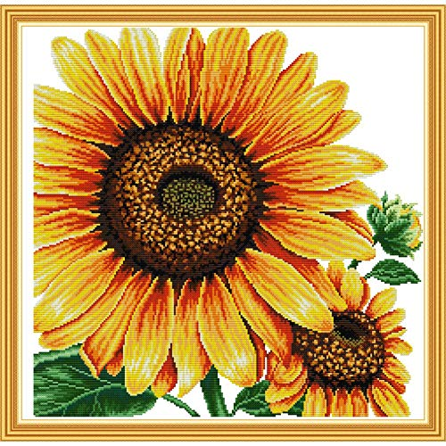 Stamped Cross Stitch Kits Pre-Printed Cross-Stitching Starter Pattern for Beginners Adults, Embroidery Kits Needlepoint Kits Sunflower Pattern for Home Wall Decorations
