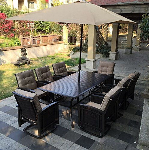 Pebble Lane Living 9pc Outdoor Wicker Patio Dining Set - seats 6