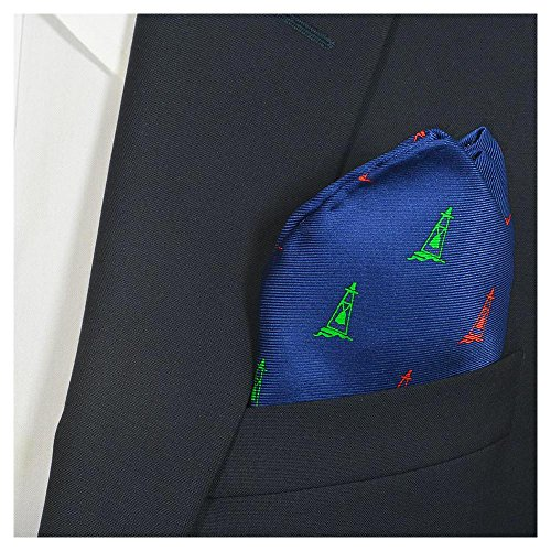 - SummerTies Buoy Pocket Square - Navy, Printed Silk
