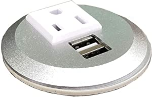 "Pwr Plug Power Grommet for Desk Office Furniture Fits 2""-2.5"" Standard Grommet Hole 1 AC Outlets 2 USB Charging Ports ETL Listed (Silver - Round)"
