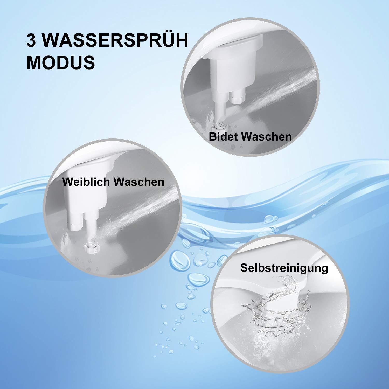DALMO DDB02S1 Nicht Elektrischer Bidet WC-Aufsatz mit Frischwasserspray und Selbstreinigender Doppeld/üsen f/ür Intimreinigung Wei/ß und Blau Wasserdruck Einstellbar Einfach zu Installieren Bidet