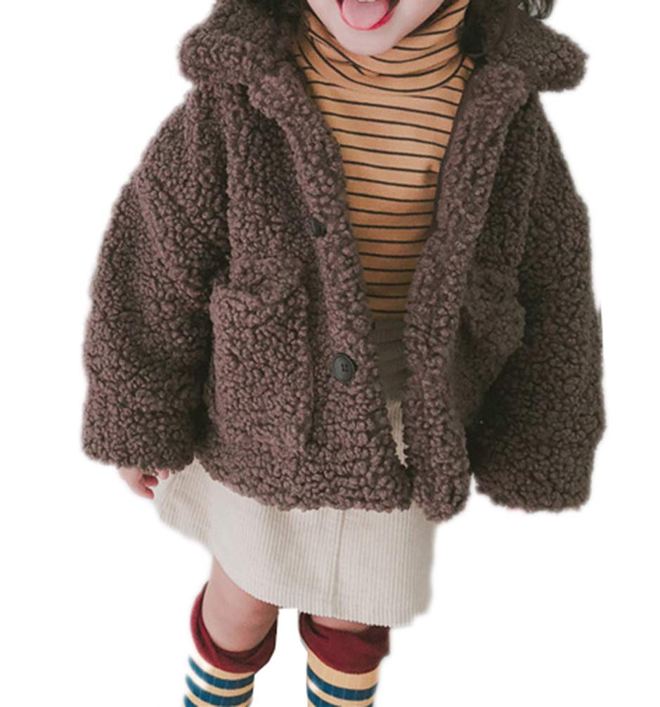 JIANLANPTT Little Girls Faux Lambswool Button up Coat Kids Winter Warm Fleece Outerwear Jacket Brown Gray 4-5Years