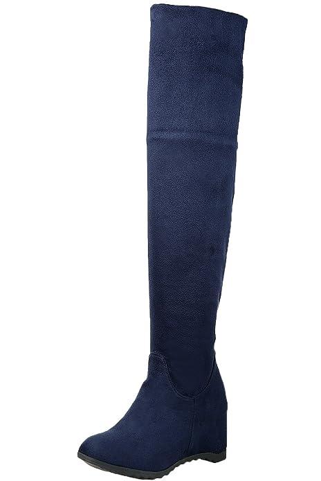 07f50656d8 BIGTREE Botas sobre la rodilla Mujer Otoño Invierno Encaje Casual Plegable Cálidas  Cómodo Cuña Botas largas De  Amazon.es  Zapatos y complementos