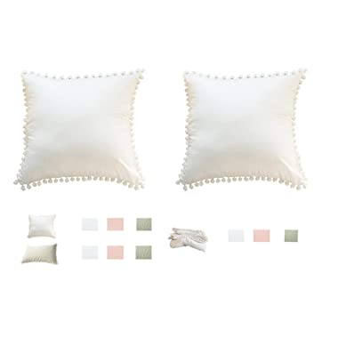 Meaning4 Pom Poms Fringe Cotton Throw Pillow Covers Off White 18X18inches(45x45CM) Set of 2