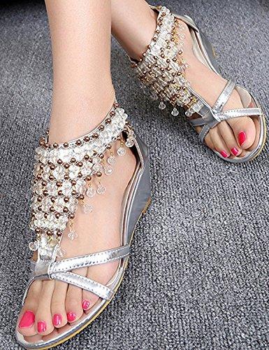Wedge Rhinestone Silver Sandals Heel Gladiator Beaded D2C Women's Beauty Glitter High HxYCUT8wq