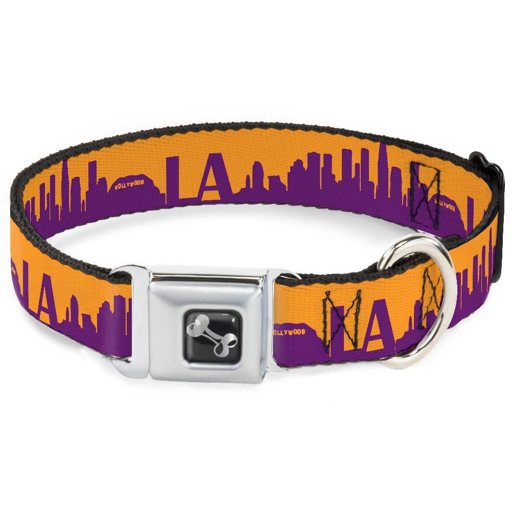 Buckle-Down 16-23  Los Angeles Solid Skyline gold Purple Dog Collar Bone, Wide Medium