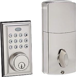 AmazonBasics Electronic Deadbolt Door Lock, Traditional, Satin Nickel
