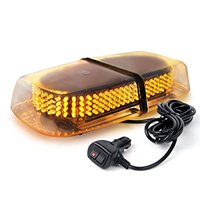 Xprite 240 LED Amber/Yellow Roof Top LED Emergency Strobe Lights Mini Bar for Cars Trucks Snow Plow Vehicles Warning Caution Lights w/Magnetic Base: Automotive