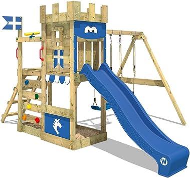 WICKEY Parque infantil de madera RoyalFlyer con columpio y tobogán azul, Torre de escalada da exterior con arenero y escalera para niños