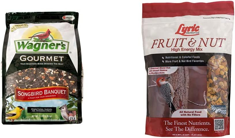 Wagner's 82042 Songbird Banquet Wild Bird Food, 5-Pound Bag & Lyric 2647413 Fruit & Nut High Energy Wild Bird Food, 5 lb