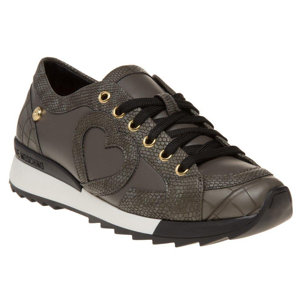 Love Moschino Croc Print Womens Sneakers Grey
