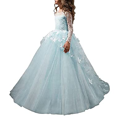 GU ZI YANG Girls Pageant Dresses 7-16 Floor Length Ball Gowns Puffy Prom Dress