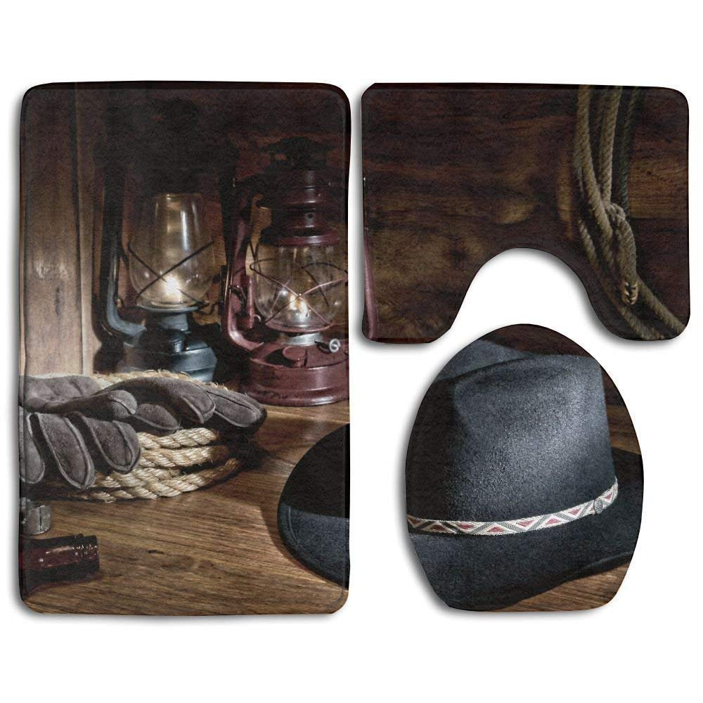 Amkong Bathroom Rug Western American Rodeo Equipment with Cowboy Felt Hat Ranching Tools Lanterns 3 Piece Bath Mat Set Contour Rug and Lid Cover
