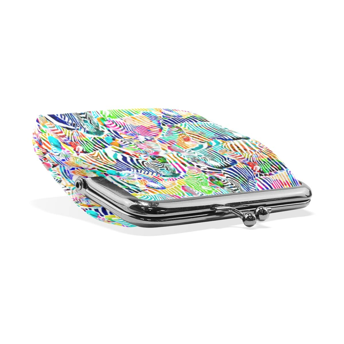 Zebra Rainbow Painting Coin Purse Buckle Vintage PU Pouch Kiss-lock Wallet for Women Girl