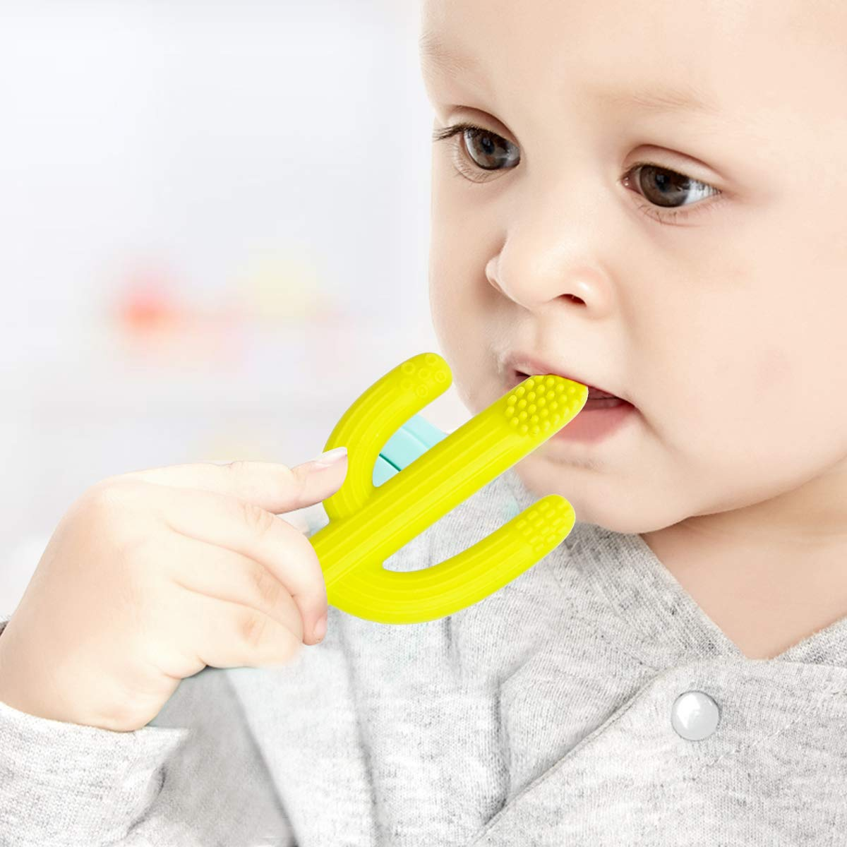BPA Free Toothbrush Soothing with Gum Massaging Green+Yellow Vicsou Silicone Baby Teether FDA Approved 2 Packs Infant Teething Toy