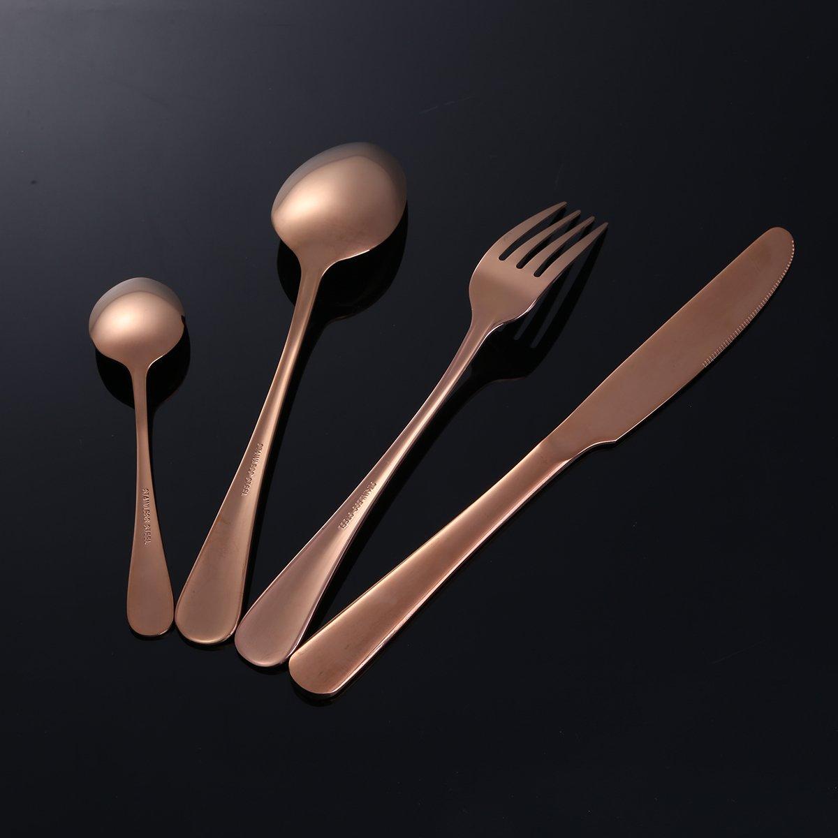 Free bily 4 pieza de cubertería de lujo Set Vajilla Carne Tenedor Cuchillo cucharas té (Acero Inoxidable Pulido talla única Rose Gold/4: Amazon.es: Hogar