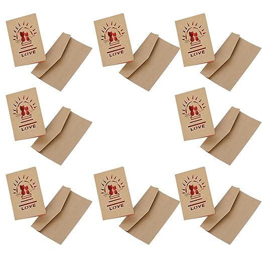 Da.Wa 8X Tarjeta de Felicitación Papel Kraft Sobres Pequeños Tarjetas de Felicitación Navideñas con Sobres y Pegatinas10.3cm*7.2cm