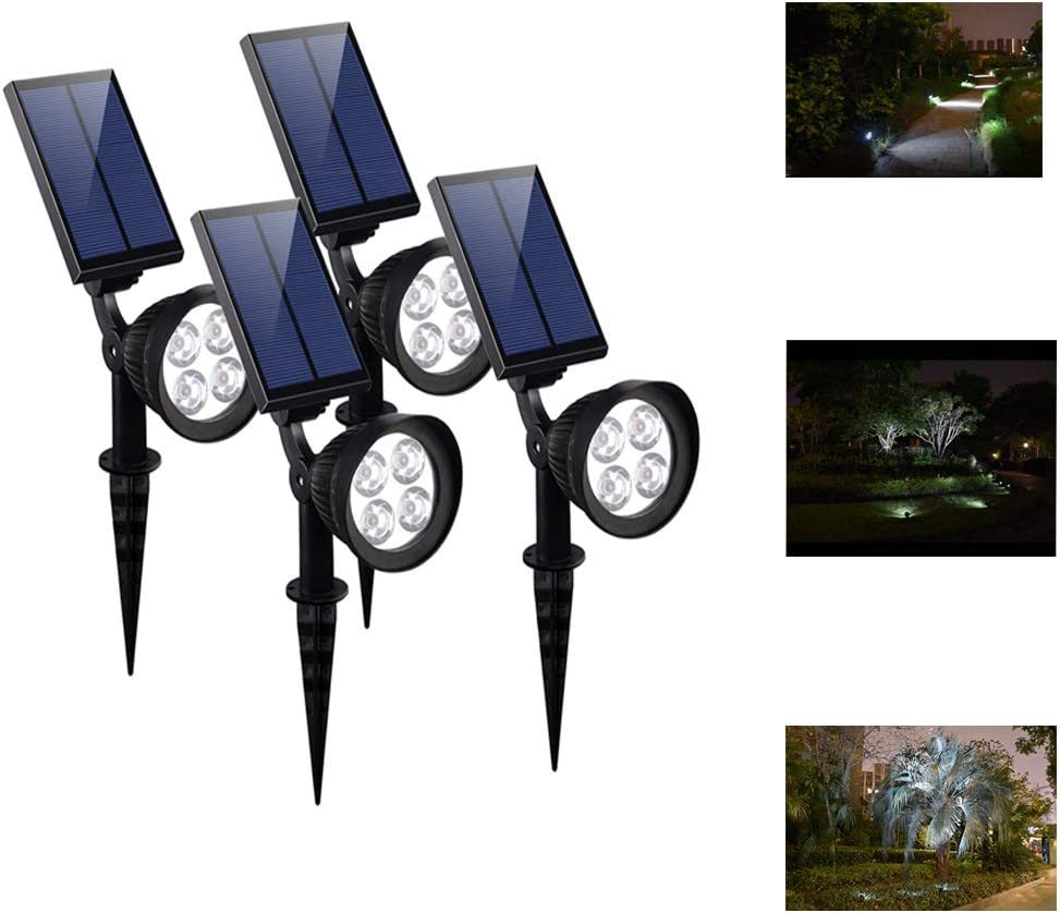 CANAGER Solar Spotlights Outdoor,Waterproof Solar Powered Landscape Lights for Yard,Garden,Driveway-4Packs