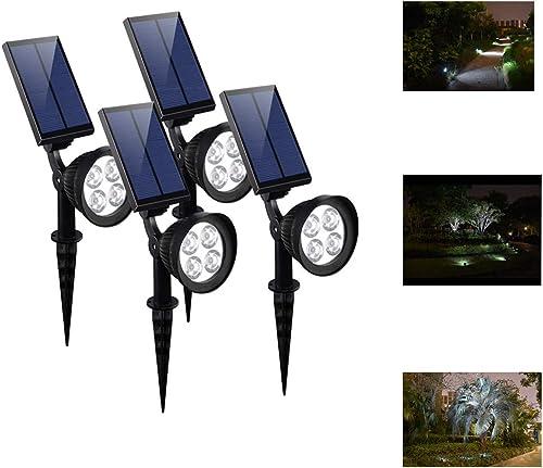 CANAGER Solar Spotlights Outdoor,Waterproof Solar Powered Landscape Lights for Yard,Garden,Driveway-4Packs
