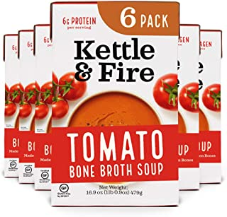product image for Tomato Soup with Chicken Bone Broth by Kettle and Fire, Pack of 6, Paleo, Gluten Free Collagen Soup on the Go, 11g of Protein, 16.9 fl oz