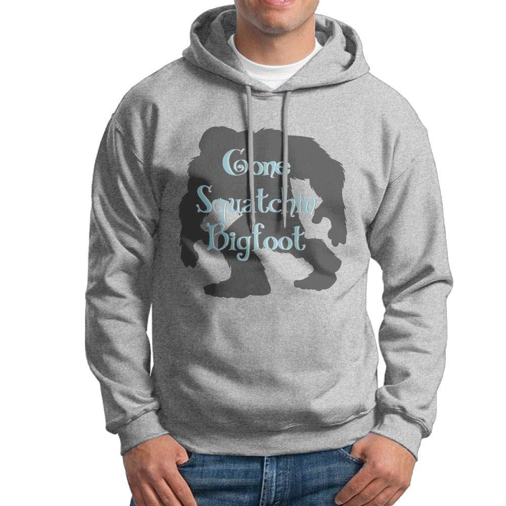 Arsmt Hooded Sweatshirt Men Funny Pullover Fleece Hoodie Gone Squatchin Bigfoot